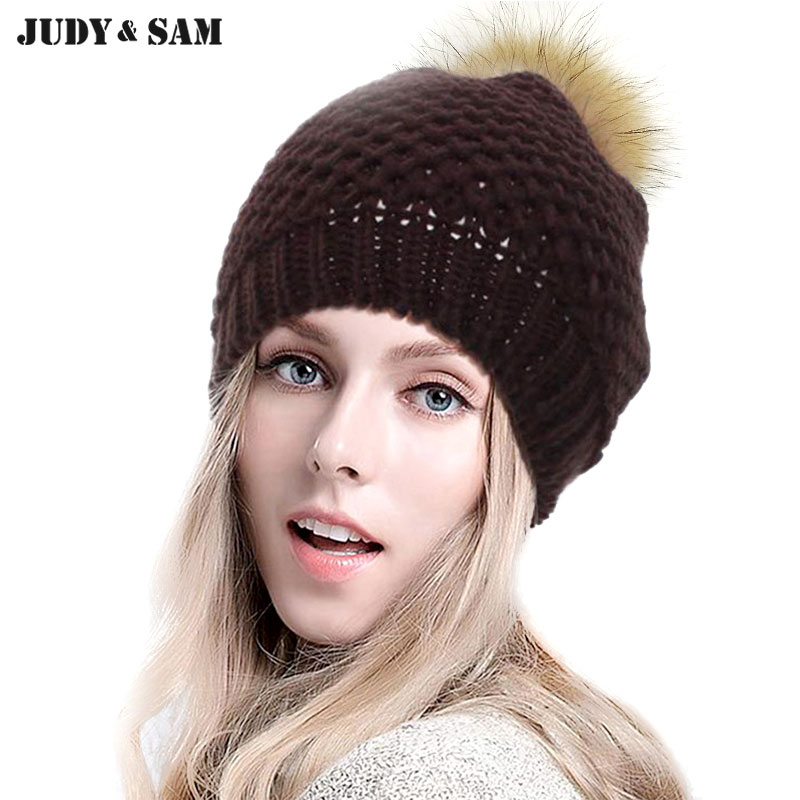 New 2015 Fashion Colors Warm Wool Knitted Pattern Women Man Apparel Accessories Beanie Hat with Real Fur Pom Poms Top Winter Hat(China (Mainland))