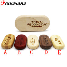 POWERONE logo customized Wood usb Flash Drive wooden pendrive 4gb 8gb 16gb 32gb Pen Drive U Disk memory stick wedding gifts(China)
