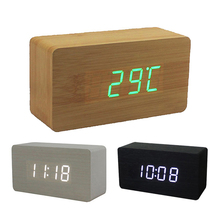 Wood Office Desk Wooden Digital Alarm Clock Time temperature and date alternately display Wooden Clock Home Decor