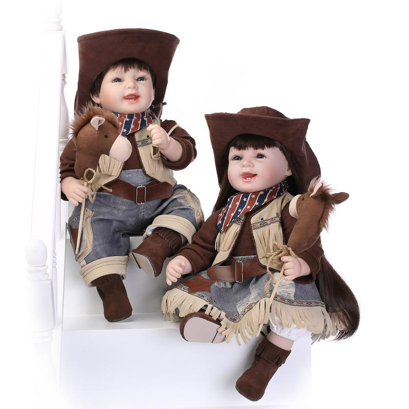 UCanaan New Cowboy Style Handmade Silicone Reborn Baby Dolls 50-55cm Soft Body Fashion Doll Reborn To Child Play 100% Safe Toys<br><br>Aliexpress