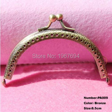 Free Shipping PA009 10pcs Blank Purse Frame Hanger 8.5cm Bronze Metal Clasps Purses Accessories Handles Handbags Diy Bag Parts