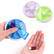 Portable Storage Pills Organizer Round Case Medicine Box for Outdoor Activities(China)