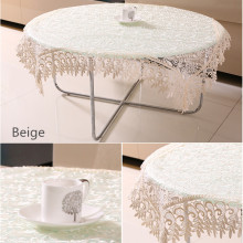 Exquisite water-soluble glass yarn embroidery tablecloth. Pastoral lace table cloth.