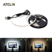 1Pcs DC5V White / Warm White USB Cable LED Strip light String Ribbon 50cm 1M 2M SMD 3528 Decorative lamp Tape For TV Background