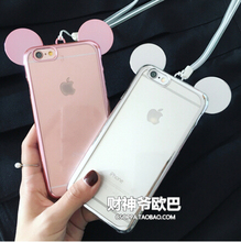 Transparent Electroplate Cute Mouse Ear Case Cover For Apple iPhone 6 6S Case Silicone 6 Series Cartoon Rubber Case For Phone