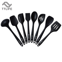 TTLIFE FDA Approved 8pcs Black Silicone Kitchen Cooking Tools Utensil Set Heat-Resistant Silicon Kitchen Cooking Set(China)