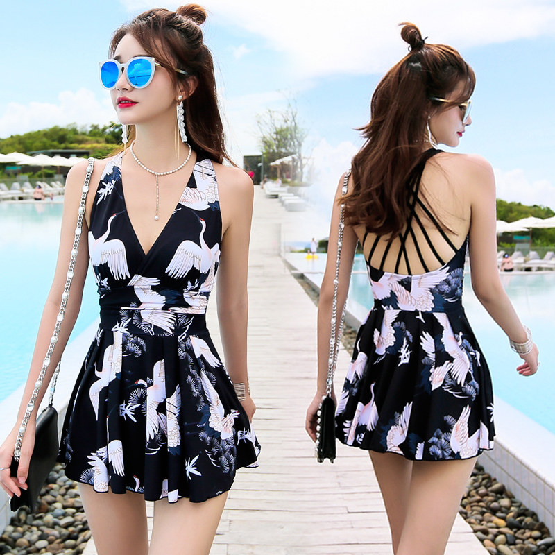 New 17 Women Swimsuit Solid Push Up Skirted Bathing Suit Padded One Piece Strappy Ruched Beach Dress Sexy Ladies Swimwear 9