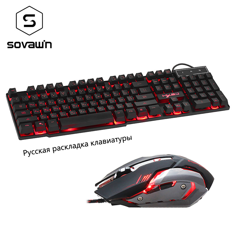 Sovawin Wired Russian Keyboard with Gaming Mouse 3 Colors Breathe Backlight Removable Keycaps Waterproof design Gamer PC Laptop(China (Mainland))