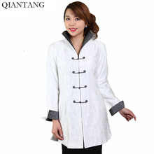High Quality White Women Cotton Long Jacket Traditional Chinese style Coat Flowers Mujer Chaqueta Size S M L XL XXL XXXL Mne07A