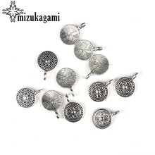 20pcs/lot 12MM Retro Antique Zinc Alloy Silver Round Charm Big Hole Charms Pendant For DIY Jewelry Necklace Accessories(China)