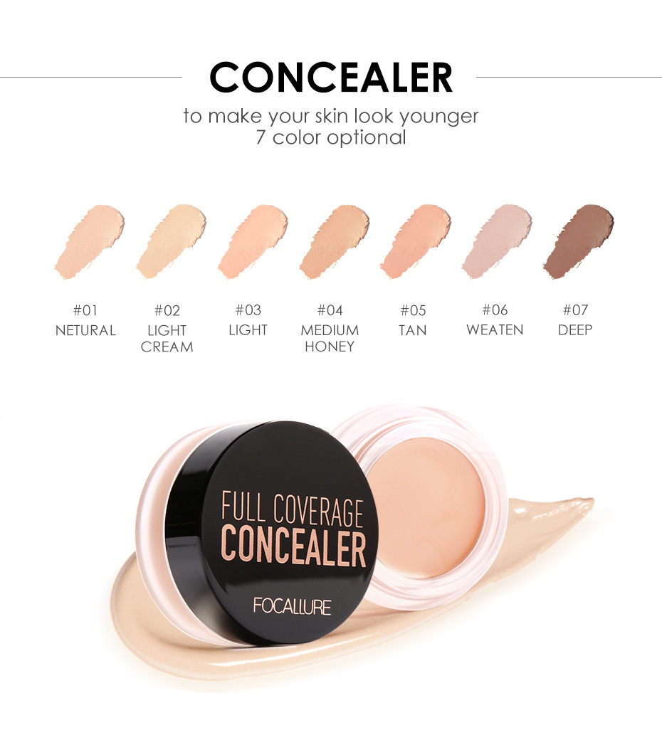 FOCALLURE 7 Colors Full Cover Concealer cream Makeup Primer Cover Foundation Base Lasting Oil Control Cream Concealer 2