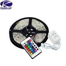 Good quality 5M/roll RGB 3528 SMD Flexible Waterproof 300 LED Strip Light set+ 24 key IR Remote Control Manufacture wholesale(China)
