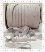 "Stretch Metallic Headband Ribbon Light Silver Sparkle Ribbon 3/8"" Elastic Frosted Glitter Velvet Ribbon(China)"