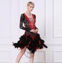 black customize custom back cutout Rumba cha cha salsa tango Latin dance  competition dress with fur 73cd1f9709e9