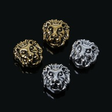 10pcs/Lot Leo Lion Leopard Head Beads Antique Silver Charms Alloy Charms Bead for DIY jewelry making(China)