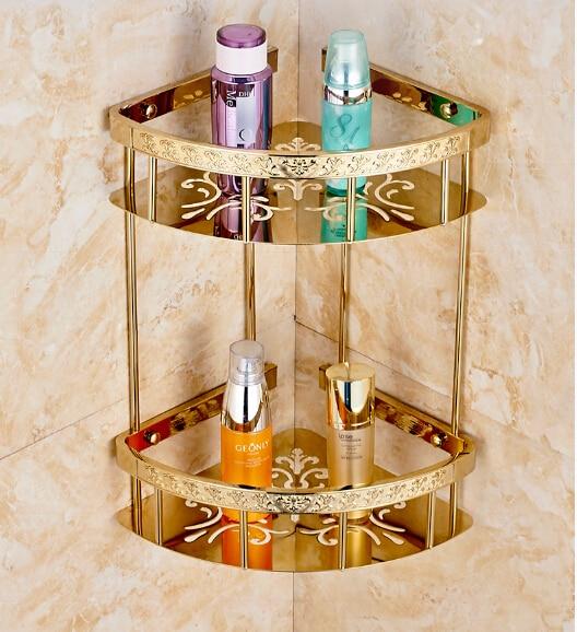 Top quality brass double tiers art carved bathroom Corner shelves  basket holder bathroom soap holder bath shampoo shelf<br>