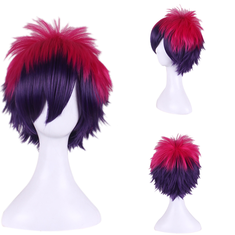 NO GAME NO LIFE Sora Red Mixed Blue Two Tone Ombre Wig Short Straight Gradient Hair Wigs Free wig cap<br><br>Aliexpress