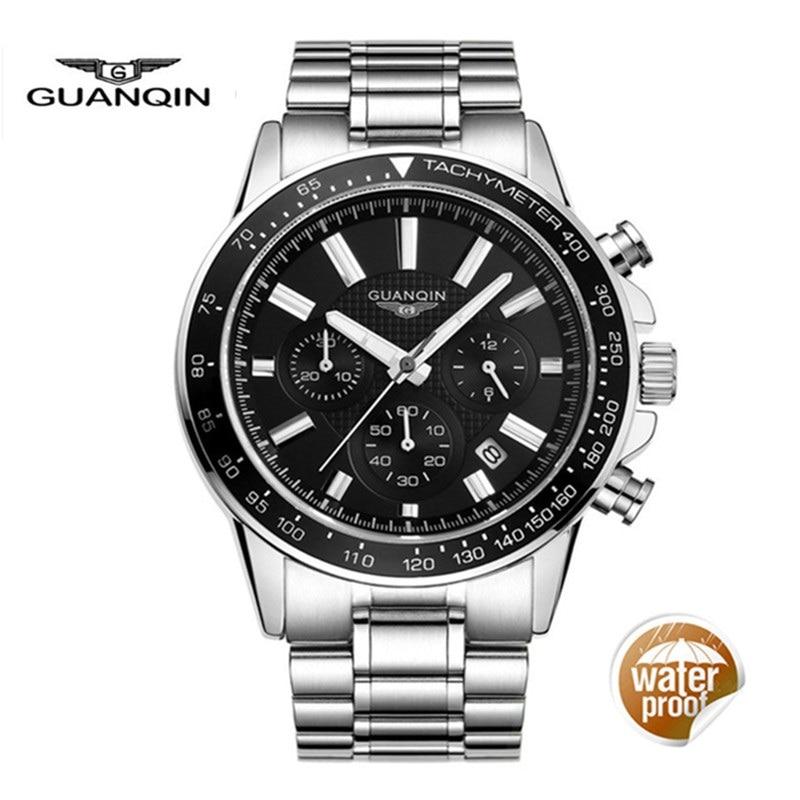 2018 Watches Men Top Brand Luxury GUANQIN Business Stainless Steel Quartz Watch Men Sport Waterproof Clock saat erkekler<br>