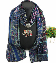 New 2017 Vintage Statement necklace Fashion Women scarf Necklace Rhinestone Elephant Pendant scarf Necklaces & Pendants Bijoux