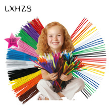 100pcs/lot Montessori Materials Chenille Colorful Children Educational Toy Crafts Kids Pipe Cleaner Toys Craft Creatve Toy(China)
