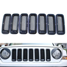 BBQ@FUKA Black 7pcs Car Front Mesh Grille Trim Grill Covers Insert Shell Styling Sticker Fit For Jeep Patriot 11-2015 Car decal