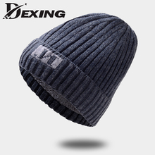 [Dexing]Real Wool Warm Men's Skullies Winter  Wool Knitted Hat Male Brand Beanies Cap Casual wooly  Hats For Men bonnet
