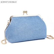 Women Luxury Brand Handbags Frame Women Clutch Evening Bags Jeans Fabric Small Bag Chains Crossbody Bag Ladies Clutch Purse(China)