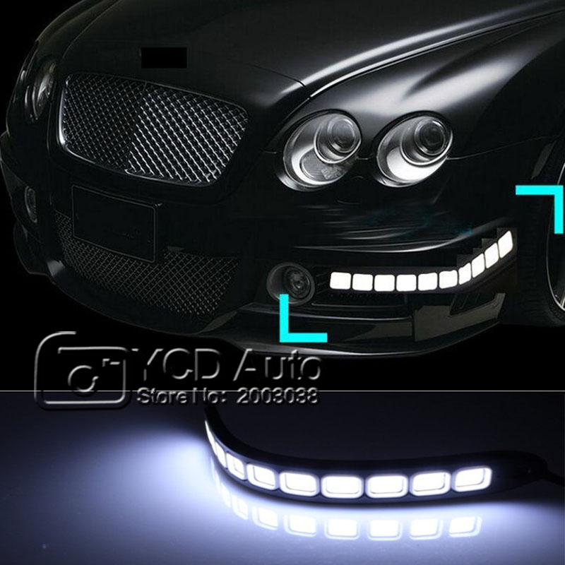 2pcs Universal High Power White Car Auto Flexible LED Daytime Running Light Automobiles COB Day Lights Soft DRL Fog Light DC12V<br><br>Aliexpress