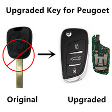 Upgraded Remote Key 2 Buttons for PEUGEOT 207 307 Keyless Entry Fob Car Controler 433MHz ID46 Chip