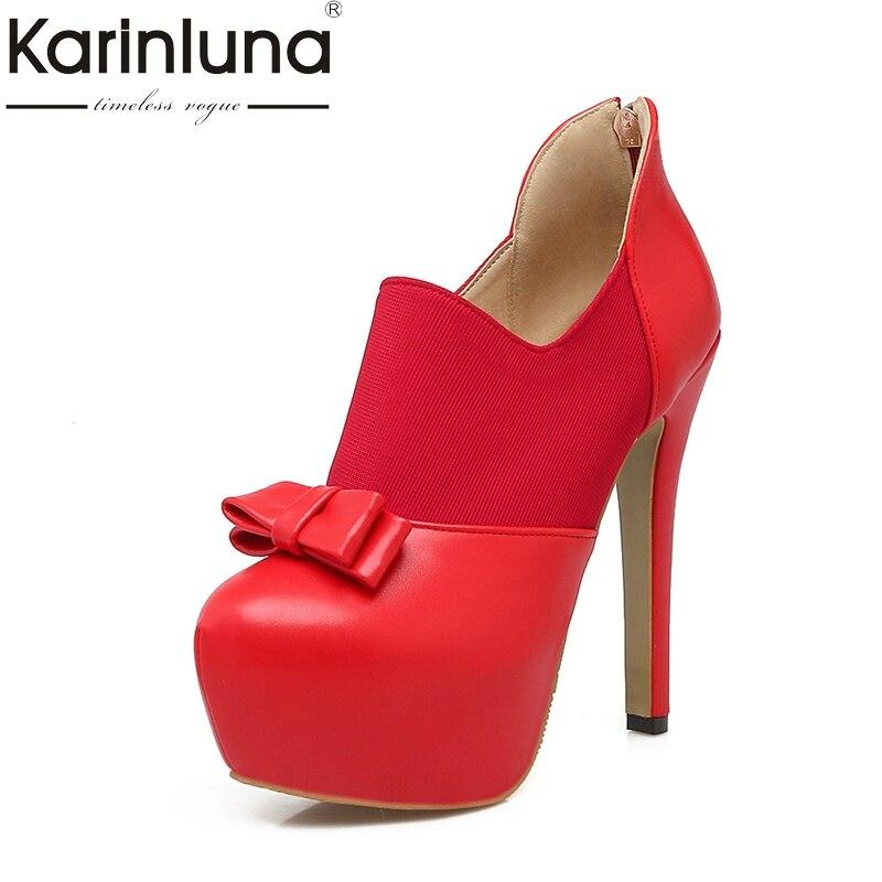 Karinluna Super Thin High Heels Zip Up Bowtie 2018 Women Pumps Woman Big Size 32-43 Black Red Platform Party Wedding Pumps<br>