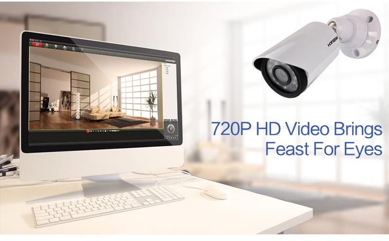 H.VIEW 8ch CCTV Surveillance Kit 4 Cameras Outdoor Surveillance Kit IR Security Camera Video Surveillance System DVR Kits (6)