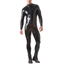 Buy Free Shipping Latex Men's Catsuit Front Zip Rubber Body Suit Front Zip Attached Latex Sock