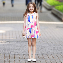 2016 Teen Girls Dresses Paint Scrawl Colorful Pink Blue Dress School Girls Frock Design for Age5 6 7 8 9 10 11 12 13 14Years Old