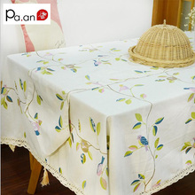 Pastoral Green Leaves Tablecloth Polyester Printed Lace Table Microwave Covers Dustproof Rectangular Party Wedding Table Cloth