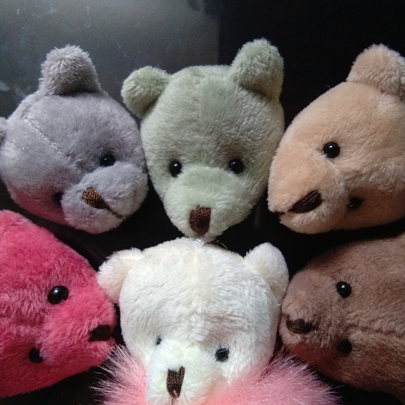 100 pcs New Bear Head Short Plush Toy Head DIY Jewelry Accessory For Toy Pompon Phone Bag Pendant Red Beige Head Handicraft