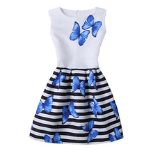 2017 Girls Dress Summer Butterfly Floral Print Teenagers Dresses for Girls Designer Formal Party Dress Kids Vestido 6-12Y(China)