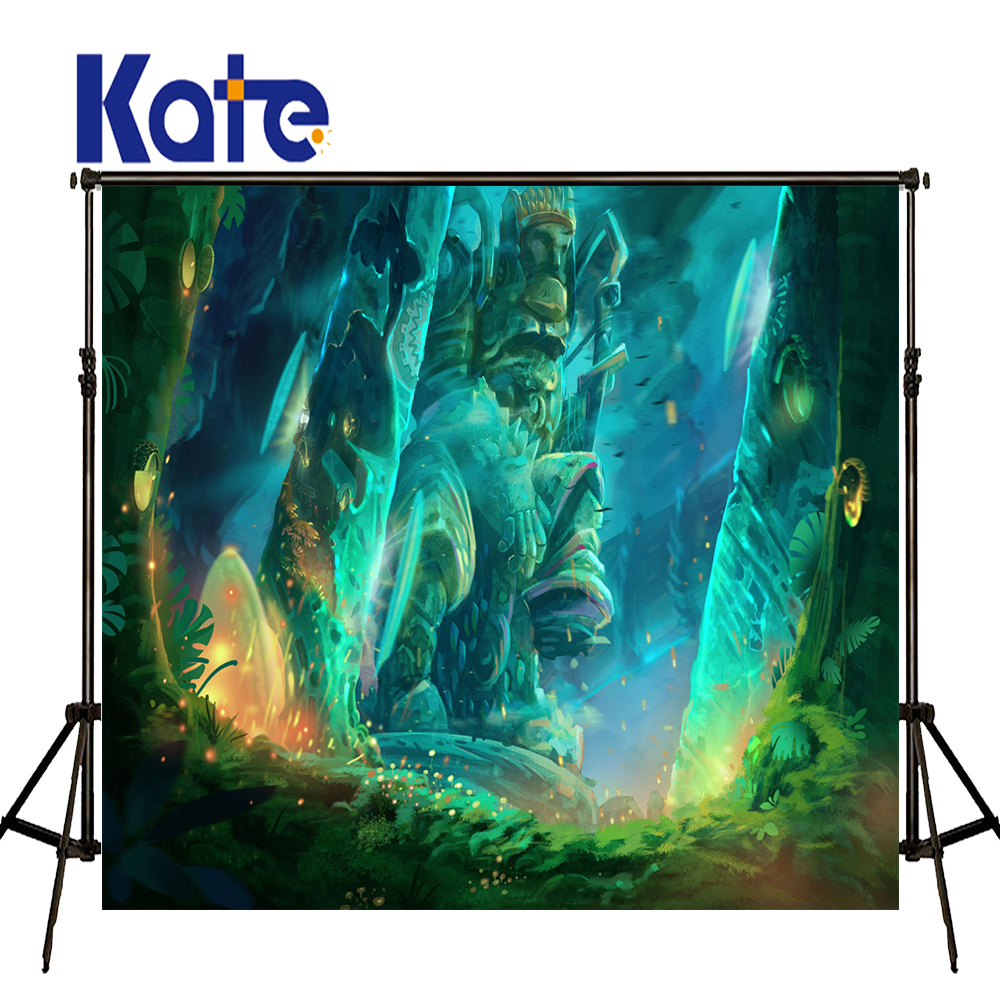 KATE Photography Backdrops 10x10ft Newborn Photography Background Green Cartoon Fairy Tale Forest Background for Photo Studio<br>