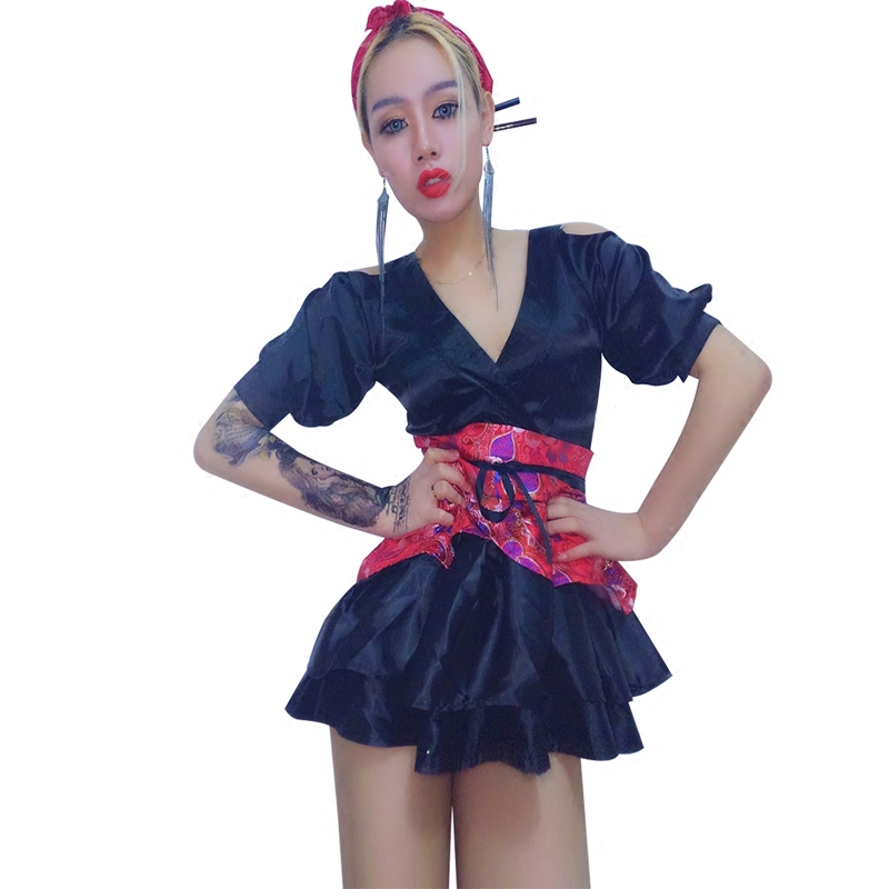 New Sexy Female Singer Outfit Red Shiny Jazz Dance Wear Dj Nightclub Dress Costume Women Stage Costumes For Singers Dance (3)
