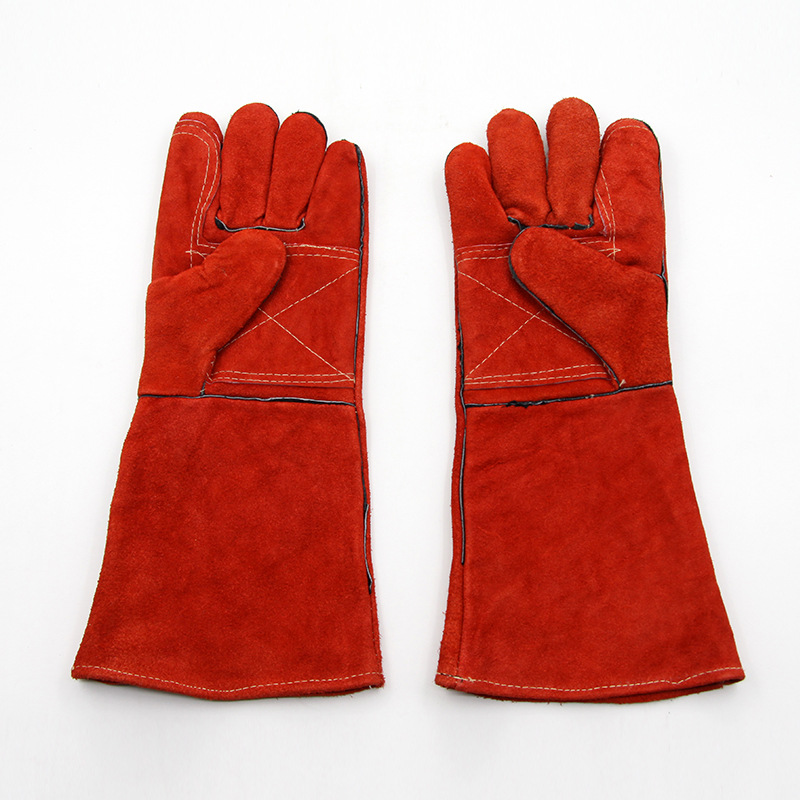 The new 2017 guantes trabajo 43 cm red leather welding gloves pattern of thickening mechanic gloves puncture-proof cut<br><br>Aliexpress