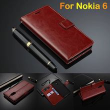 For Nokia 6 Flip Case Cover Slim Card Holder Leather Case For Nikia 6 2017 Phone Case Wallet Luxury Fundas Women Coque 5.5(China)