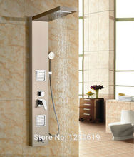 Newly Massage Shower Panel w/ Hand Shower Shower Column Stainless Steel Brushed Luxury Shower Faucet