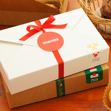 19.8*4*12.5cm 10 PCS  2 Style Paper Box Candy Cake Cookies Container Food Packaging Christmas Baby Shower Party Gift