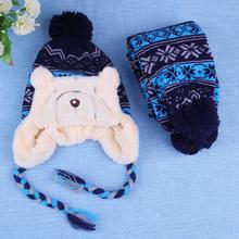 2017 Fashion Baby Winter Warm Hat Scarf Set Cap Beanie Cartoon Bear Infant Fleece Hat Hairball Snowflake Caps Newborn Prop(China)