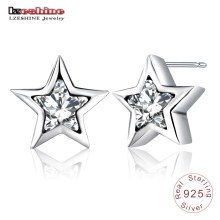 LZESHINE Push Back Small Lovely Star Earrings with AAA Zirconia 925 Sterling Silver Earrings Stud for Girls Party Gift PSER0086(China)