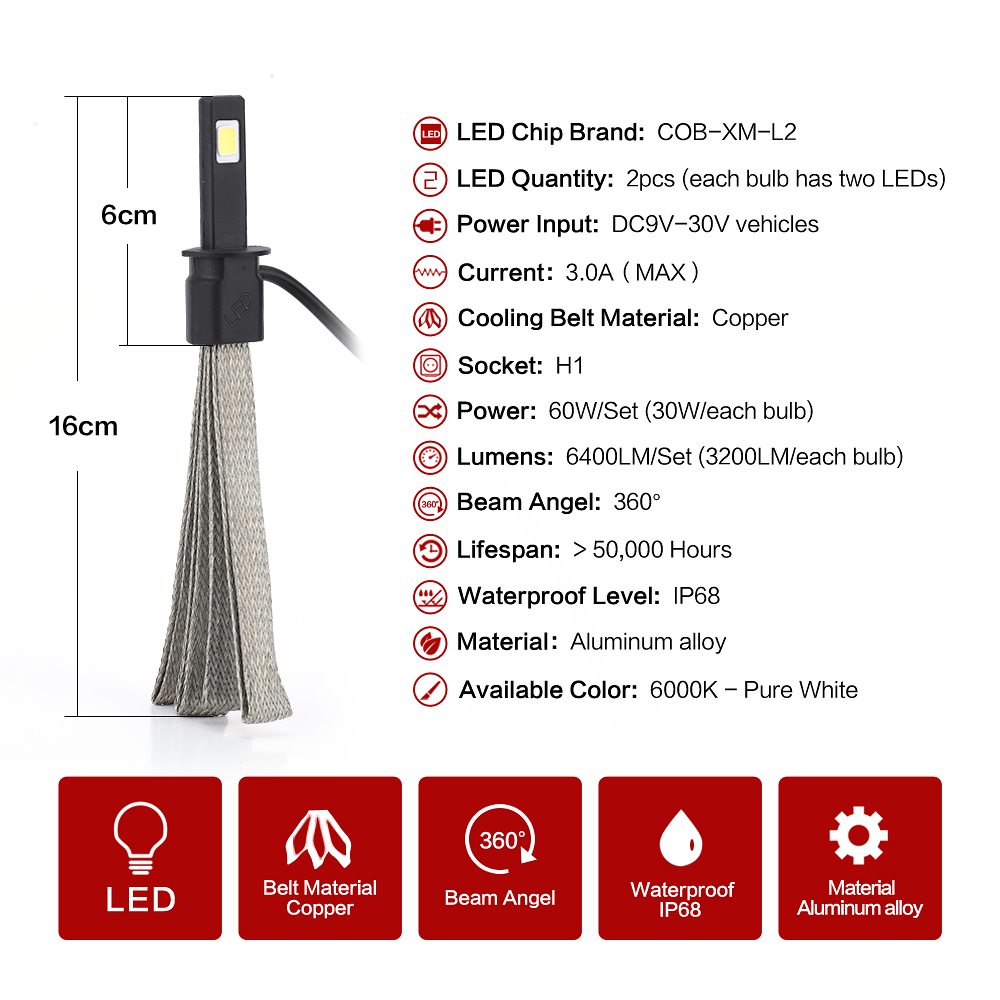 72W 8000LM headlight bulbs  headlamp COB LED headlight FOR Universal Car H1 LED Headlight Fog light Bulbs Better than xenon bulb<br><br>Aliexpress