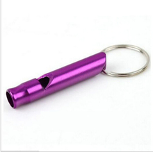 Hot sale 10pcs/lot Aluminum Emergency Survival Whistle Keychain For Camping Hiking ( 7 colors For Option)