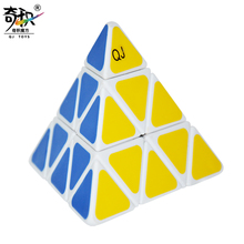 New Qunjia QJ Pyraminx  PVC Sticker Cube White Puzzle Speed Classic Toy Learning Education Special Toys