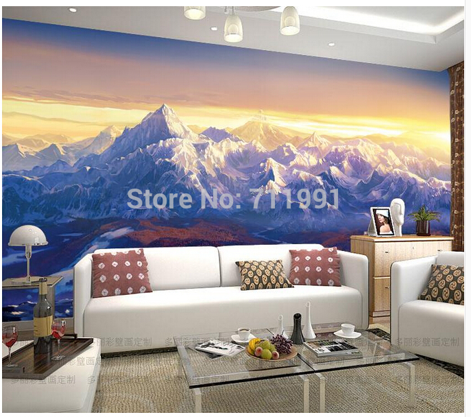 Free shipping custom modern 3D snow mountain glacier peak large murals bar KTV Coffee store room TV background wallpaper<br>