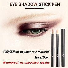 HaLu New 2016 Brand Pirmer Eyeshadow Stick Music Flowers double Colors Golden Luminous Eye Shadow Cosmetic Eyes Cream Pen