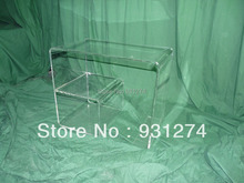 ONE LUX Modern Acrylic coffee table with magazine rack, Lucite tea table with book storage Holder